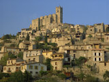 Christian Church on the Skyline and Houses in the Village of Eus  Languedoc Roussillon  France