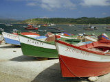 Fishing Boats on the Beach and in the Harbour of the Village of Muxia in Galicia  Spain  Europe