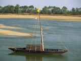 Small Boat Moored on the River Loire Near Mont Jean in Pays De La Loire  France  Europe