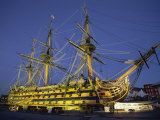 Hms Victory at Night  Portsmouth Dockyard  Portsmouth  Hampshire  England  United Kingdom  Europe