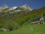 Parador of Bielsa with Snow Capped Mountains Behind  in Aragon  Spain  Europe