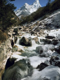 Mountain Stream and Peaks Beyond  Himalayas  Nepal