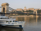 Chain Bridge over Danube with Royal Palace Beyond  Budapest  Hungary  Europe