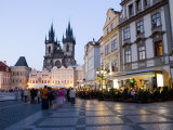Evening  Cafes  Old Town Square  Church of Our Lady before Tyn  Old Town  Prague  Czech Republic
