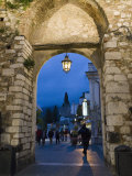 Gateway into Town at Night  Taormina  Sicily  Italy  Europe