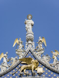 St Mark and Angels on the Facade of Basilica Di San Marco  St Mark's Square  Venice  Italy