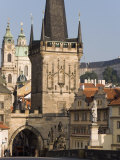 Charles Bridge  Little Quarter Bridge Tower  Church of St Nicholas  Prague  Czech Republic