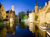 Canal and Belfry Tower in the Evening  UNESCO World Heritage Site  Bruges  Belgium  Europe