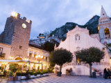Evening  Piazza Ix Aprile  Torre Dell Orologio  Church of San Giuseppe  Taormina  Sicily  Italy