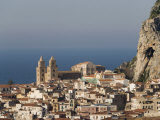 Distant View of Cathedral  Cefalu  Sicily  Italy  Mediterranean  Europe
