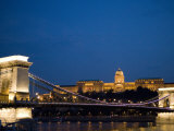 Chain Bridge over Danube with Royal Palace Beyond in the Evening  Budapest  Hungary  Europe