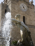 Fountain and Cathedral  Monreale  Palermo  Sicily  Italy  Europe