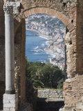 Greek Theatre and View of Giardini Naxos  Taormina  Sicily  Italy  Europe