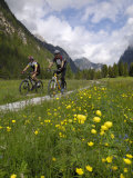 Cyclists Riding Through an Alpine Meadow  Valle Di Landro  Hohlensteintal  Dolomites  Italy  Europe
