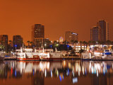 Rainbow Harbor and Skyline  Long Beach City  Los Angeles  California  USA