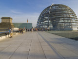 Tourists on the Roof Terrace of the Famous Reichstag Parliament Building  Berlin  Germany
