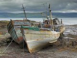 Wrecked Fishing Boats in Gathering Storm  Salen  Isle of Mull  Inner Hebrides  Scotland  UK