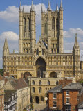 West Front of Lincoln Cathedral and Exchequer Gate  Lincoln  Lincolnshire  England  United Kingdom