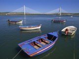 Tranquil Scene of Fishing Boats and Suspension Bridge  Portimao  Algarve  Portugal  Europe
