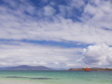 Boat with Red Sails Off Traigh Bhan Beach  Iona  Sound of Iona  Scotland  United Kingdom  Europe