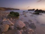 Long Exposure of Incoming Tide on Tonal Beach at Sunset Near Sagres  Algarve  Portugal  Europe