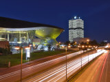 Bmw Welt and Headquarters Illuminated at Night  Munich  Bavaria  Germany  Europe