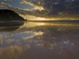 Sunset Reflected in Tidal Wash  Praia Do Castelejo Beach Near Vila Do Bispo  Algarve  Portugal