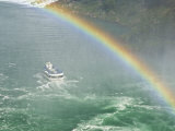Maid of the Mist Tour under the Horseshoe Falls Waterfall  Niagara Falls  Ontario  Canada