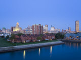 Erie Basin Marina and City Skyline  Buffalo  New York State  USA
