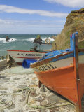 Traditional Portuguese Fishing Boats in a Small Coastal Harbour  Beja District  Portugal