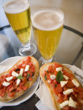 Snack of Beer and Bruschetta in Cafe  Siena  Tuscany  Italy  Europe