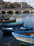 Traditional Fishing Boats in Harbour  Ortygia  Syracuse  Sicily  Italy  Mediterranean  Europe