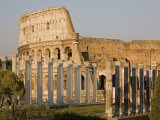 Colosseum and False Roman Columns for Theatre  Rome  Lazio  Italy  Europe