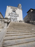 Steps of Cathedral  Wide View  Old Town  Girona  Catalonia  Spain