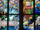 Stained Glass Window  St Vitus's Cathedral  Prague  Czech Republic  Europe