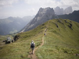 Walkers on Footpath  Marmolada Mountain  Dolomites  Italy  Europe