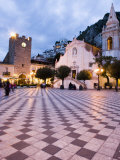 Piazza Ix Aprile  with the Torre Dell Orologio and San Giuseppe Church  Taormina  Sicily  Italy