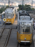 Two Trams in Budapest  Hungary  Europe