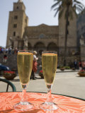Prosecco Wine on Cafe Table  Cathedral Behind  Piazza Duomo  Cefalu  Sicily  Italy  Europe