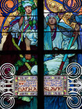 Stained Glass Window  St Vitus's Cathedral  UNESCO World Heritage Site  Prague  Czech Republic