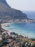 Bay and Pier  Mondello  Palermo  Sicily  Italy  Mediterranean  Europe