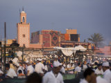 Open Air Restaurants on Place Jemaa El-Fna in the Evening  Marrakech  Morocco  North Africa  Africa