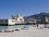 Sunbathers on Beach Near the Pier  Mondello  Palermo  Sicily  Italy  Europe