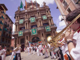 Club's Parade  San Fermin Festival  and Pamplona City Hall  Pamplona  Navarra  Spain  Europe