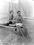 Randolph Scott and Cary Grant Poolside at their Santa Monica Beach Front House  1935