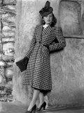 Priscilla Lane Modeling Houndstooth Coat  1939