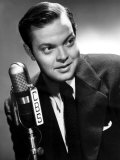 Orson Welles at the CBS Microphone in Publicity Shot for Murcury Summer Theater  1946