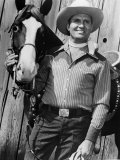 Champion and Gene Autry as They Appeared in Blue Canadian Rockies  1952