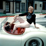 Anita Ekberg  on Her Jaguar  Late 1950s