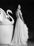 Kay Francis Modeling White Chiffon Evening Gown  1937
